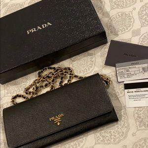 Authentic black Prada wallet on chain / crossbody